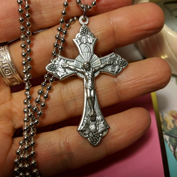 Italy Silver Cross Crucifix Pendant Long Necklace